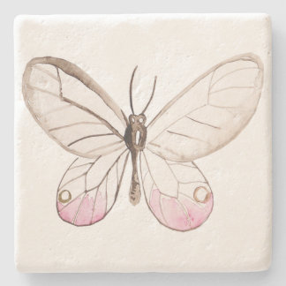 Simple & Elegant Blush Butterfly Limestone Coaster