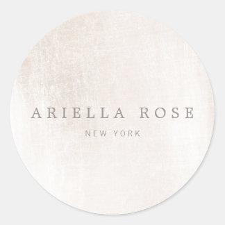 Simple Elegant Brushed White Marble Professional Round Sticker