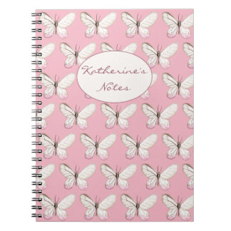 Simple & Elegant Butterfly Pattern | Pink Notebook