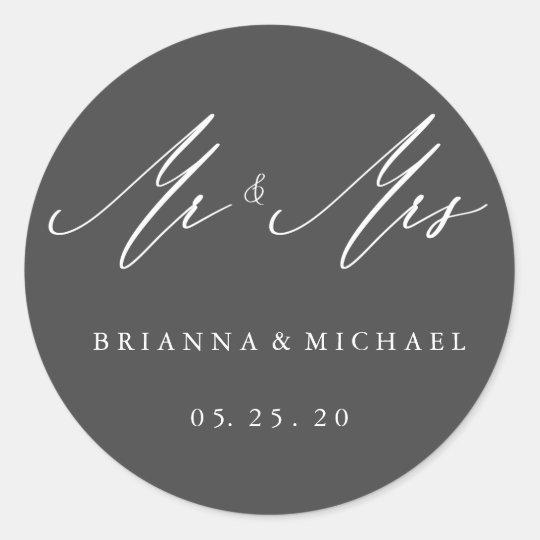 Simple Elegant Calligraphy Mr and Mrs Wedding Classic Round Sticker