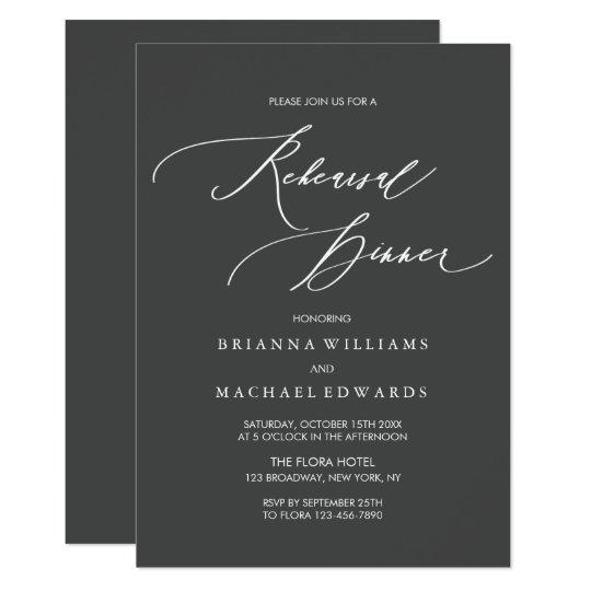 Simple Elegant Calligraphy Rehearsal Dinner Card