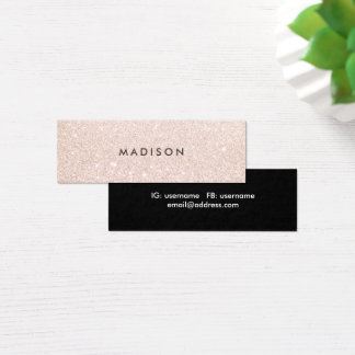 Simple Elegant Champagne Glitter Beauty Stylist Mini Business Card