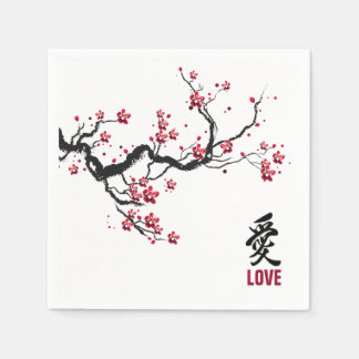 Simple & Elegant Cherry Blossom Love | Napkin Disposable Serviette