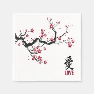 Simple & Elegant Cherry Blossom Love   Napkin Disposable Serviettes