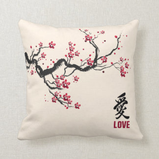 Simple & Elegant Cherry Blossom Love Throw Pillow