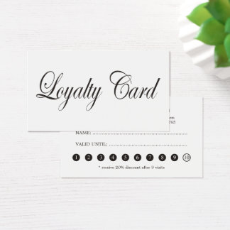 Simple Elegant Chic Black White Loyalty Card