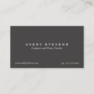Music composer business cards zazzle uk simple elegant composer and music teacher black business card reheart Gallery