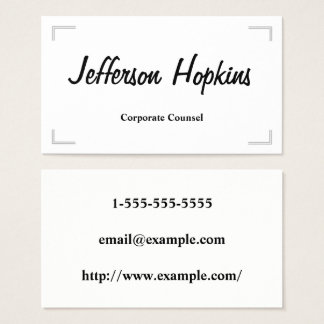 Simple & Elegant Corporate Counsel Business Card