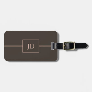 Simple Elegant Dark Brown Monogram Luggage Tag