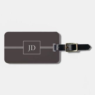 Simple Elegant Dark Grey Monogram Luggage Tag