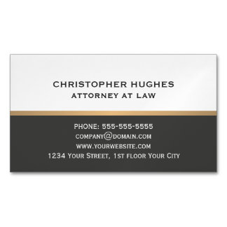 Simple Elegant Dark Grey White Faux Gold Attorney Magnetic Business Cards