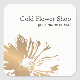 Simple Elegant Faux Gold Flower Florist Square Sticker