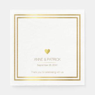 simple & elegant faux gold on white wedding party disposable napkin