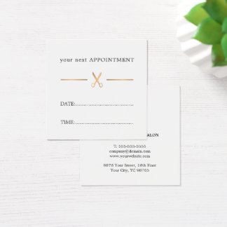 Simple Elegant Faux Gold White Hair Appointment Square Business Card
