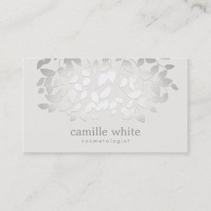 Natural organic skincare business cards zazzle uk simple elegant faux silver leaves spa business card reheart Choice Image