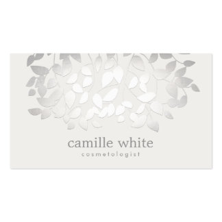 Simple Elegant Faux Silver Leaves Spa Pack Of Standard Business Cards