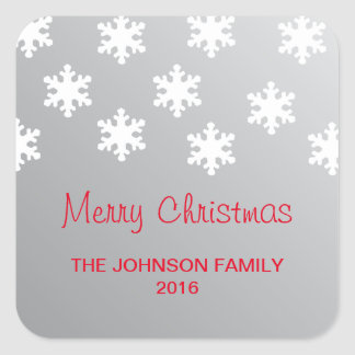 Simple Elegant Faux Silver White Snowflakes Xmas Square Sticker