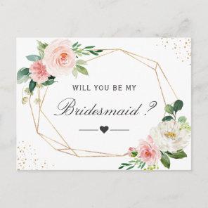 Simple Elegant Floral Be My Bridesmaid Proposal Invitation Postcard