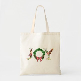 Simple elegant floral Christmas wreath joy script Tote Bag
