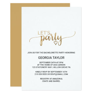 Simple Elegant Gold Calligraphy Bachelorette Party Card