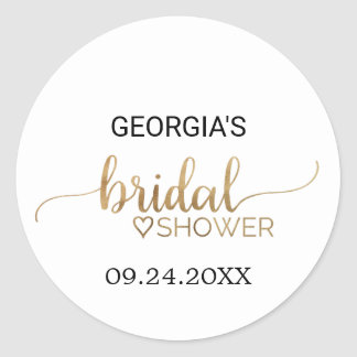 Simple Elegant Gold Calligraphy Bridal Shower Classic Round Sticker
