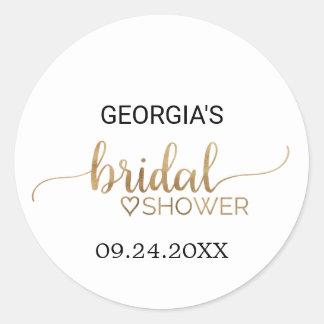 Simple Elegant Gold Calligraphy Bridal Shower Round Sticker