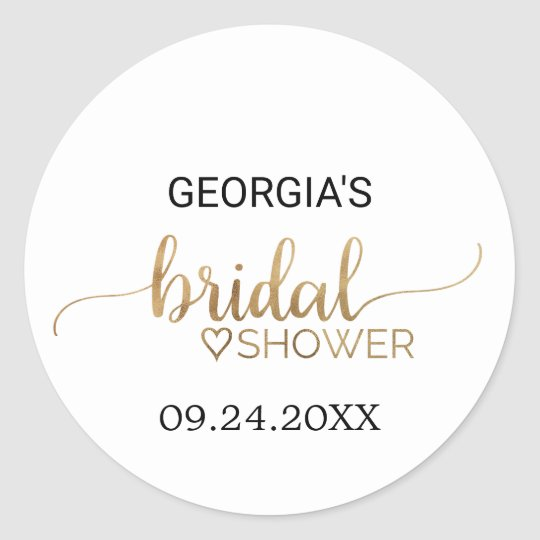 Simple Elegant Gold Calligraphy Bridal Shower Round Sticker