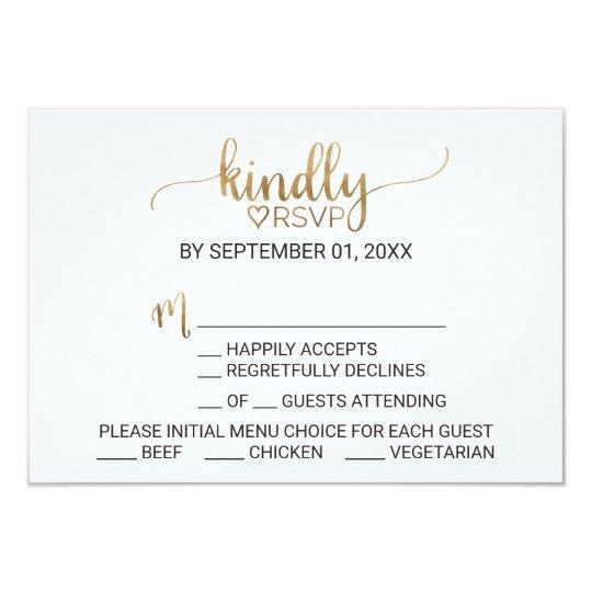 Simple Elegant Gold Calligraphy Menu Choice RSVP Card