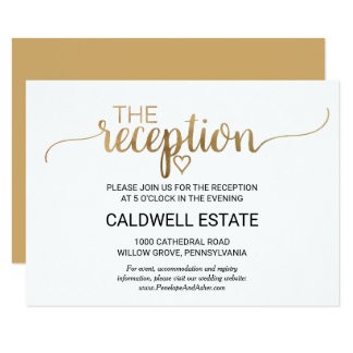 Simple Elegant Gold Calligraphy Reception Insert Card