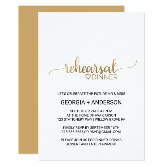 Simple Elegant Gold Calligraphy Rehearsal Dinner Card