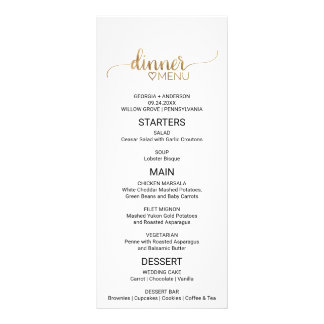Simple Elegant Gold Calligraphy Wedding Menu 10 Cm X 23 Cm Rack Card