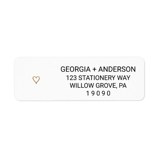 Simple Elegant Gold Heart Wedding Return Address Label