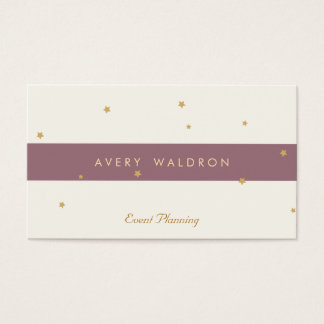 Simple Elegant Gold Star Event Planner Cream White Business Card