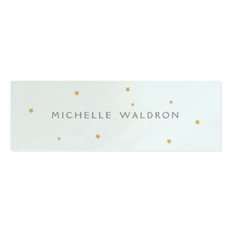 Simple Elegant Gold Stars Blue Pearlized Pack Of Skinny Business Cards