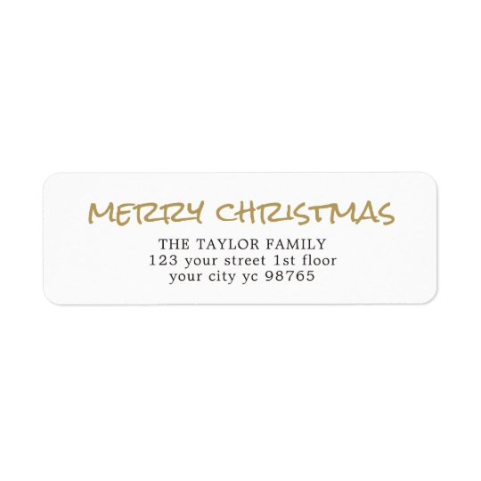 Simple Elegant Gold White Christmas Label Return Address Label