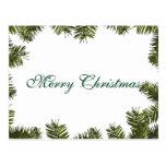 Simple Elegant Green Leaf Decor Merry Christmas Postcard