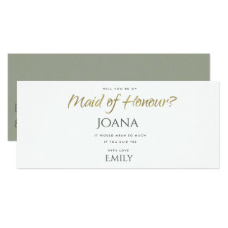 SIMPLE ELEGANT GREY GOLD TYPOGRAPHY maid of honour Card