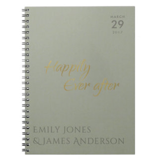 SIMPLE ELEGANT GREY TYPOGRAPHY HAPPILY EVER AFTER SPIRAL NOTEBOOK