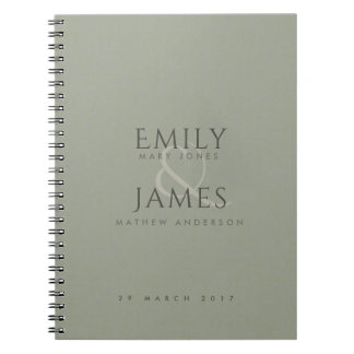 SIMPLE ELEGANT GREY TYPOGRAPHY TEXT ONLY WEDDING SPIRAL NOTEBOOK
