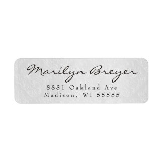 Simple Elegant Grey White Damask Return Address Label