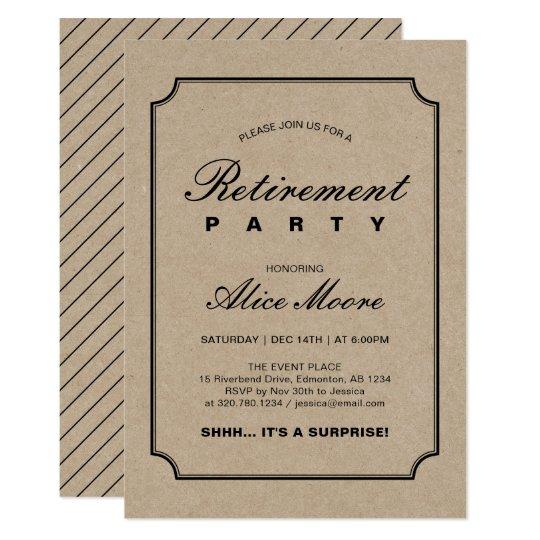 Simple Elegant Kraft Surprise Retirement Party Invitation Zazzle
