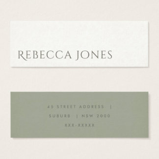 SIMPLE ELEGANT KRAFT WHITE TYPOGRAPHY ADDRESS MINI BUSINESS CARD