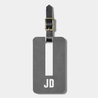 Simple Elegant Manly Texture Grey White Monogram Luggage Tag