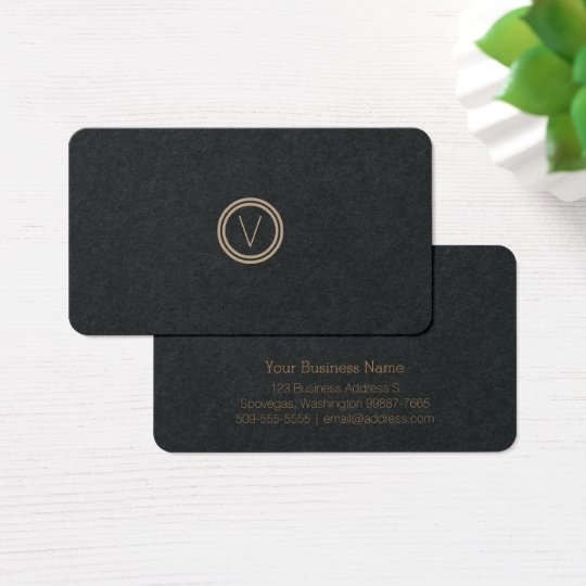 Simple Elegant Modern Monogram | Black Paper Business Card