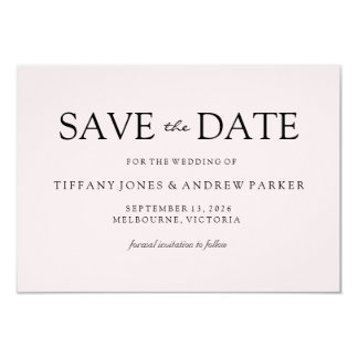 Simple Elegant Modern Peach Wedding Save the date Card