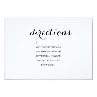 Simple Elegant Modern Wedding Directions Card