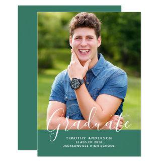 Simple Elegant Photo Graduation Vertical | Green Card