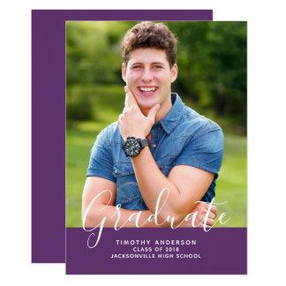 Simple Elegant Photo Graduation Vertical | Purple Card