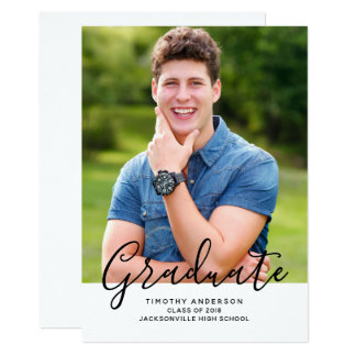 Simple Elegant Photo Graduation Vertical | White Card
