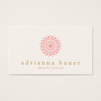 Simple Elegant Pink Mandala Business Card